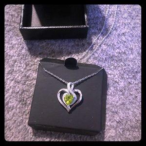 Peridot Heart Necklace w Diamonds- Sterling Silver